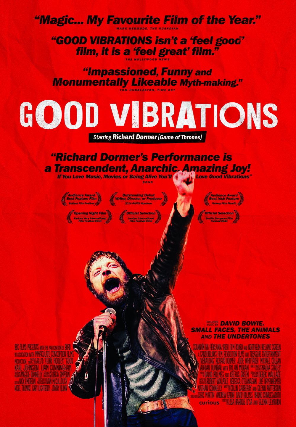 GOOD VIBRATIONS - Set in Belfast at the height of the Troubles, Good Vibrations – as its title might suggest – is an upbeat bio-pic of Terri Hooly, founder of the eponymous record store and label that signed bands such as The Undertones, known for their immortal punk hit Teenage Kicks. Played by Richard Dormer, Hooly is a force of nature, determined that his hometown be known for more than just bombs and bullets.