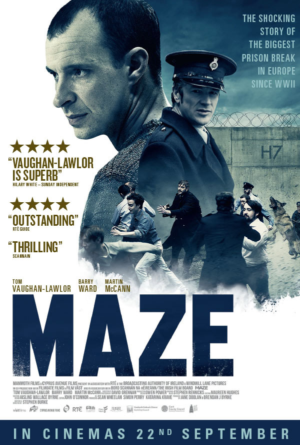 MAZE - Northern Ireland, 1983. In what is considered one of the highest security prisons in all of Europe, 38 inmates, all members of the IRA, hijack a food truck and smash their way to freedom. It was the largest break-out in British or Irish history, and a pivotal event of the era known as 'the Troubles', depicted in Stephen Burke's film, Maze. The 'Maze' of the title is Her Majesty's Prison Maze, known to Irish republican prisoners as Long Kesh, where Bobby Sands died two years prior to the events of the film. Sands was an IRA member who was elected a Member of Parliament for Fermanagh and South Tyrone with over 50% of the vote, while serving 14 years for firearm possession. He died after 66 days on hunger strike, demanding better conditions for Irish republican prisoners.The shadow of Sands and the nine other hunger strikers who died in the early 1980s looms large in Maze. Indeed, one of the first voices heard in the film is that of British Prime Minister Margaret Thatcher, who declared, while Sands and others struggled for political status, that