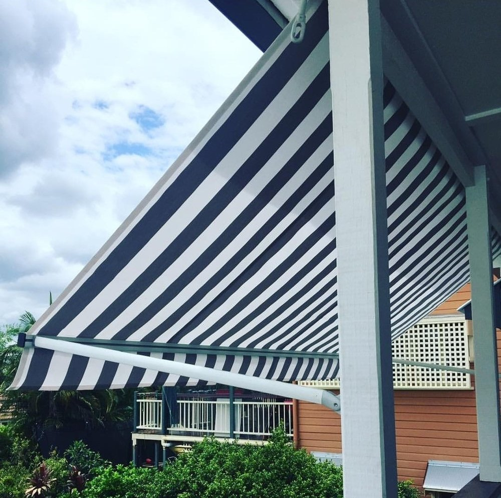 Pivot Arm - Pivot Arm Awnings project the fabric away from the window or opening, allowing constant airflow. Guide rails can be used to give the awning an adjustable pitch to suit changing requirements.