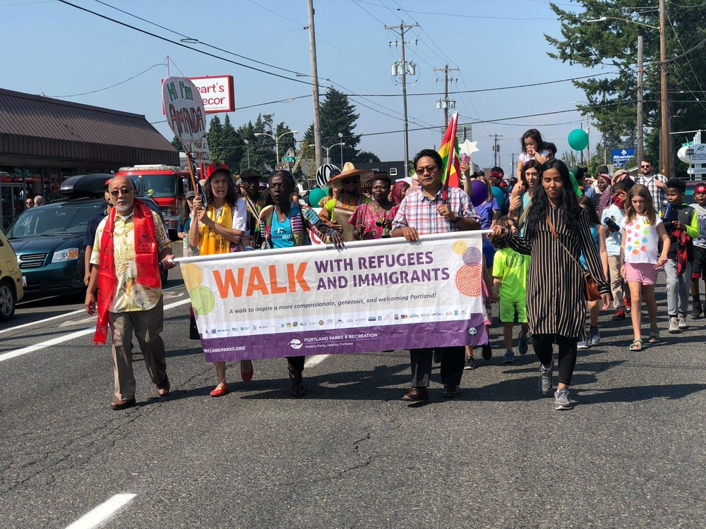 Walk with Refugees and Immigrants - August 19, 2018 from Gateway Discovery Park to Knott Park. Click here for photos.