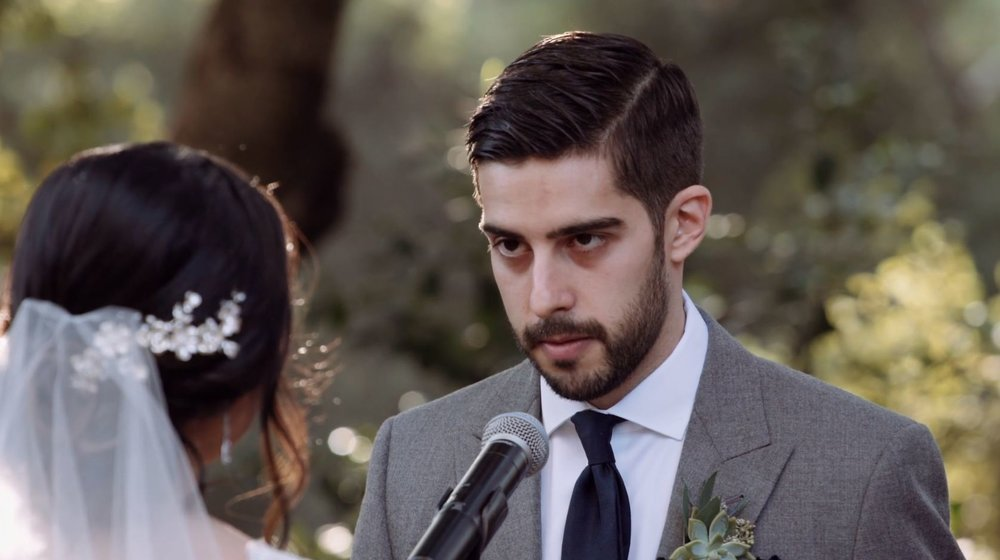 It takes concentration and Focus for Garrett as he recites his vows but our Groom to be memorized it so he can look into Deanne's eyes!