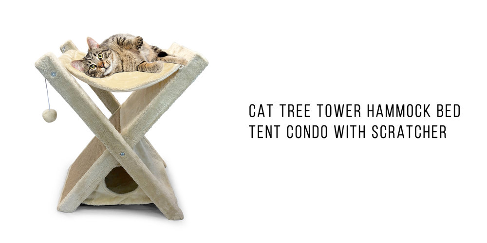 Pet Craft Supply Fold & Store Cat Tree Tower House Furniture Hammock Bed Tent Condo with Scratcher 25 Inches