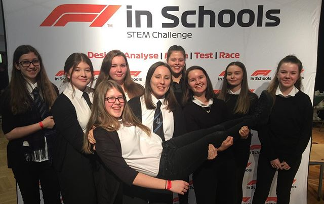 It was so lovely to meet up with @teamaccelerace today and recreate this photo! They are taken just under three months apart. One taken in Singapore, as competitors at the 2018 World Final. The other taken at our School today, where we were judges at the Scottish Region Final. We loved catching up with the girls, and  meeting the new teams representing Scotland this year. Well done and good luck to all of the teams who have made it through to Nationals! Let us know if you would like any advice from ex-competitors.  #f1inschools #f1is #scotland