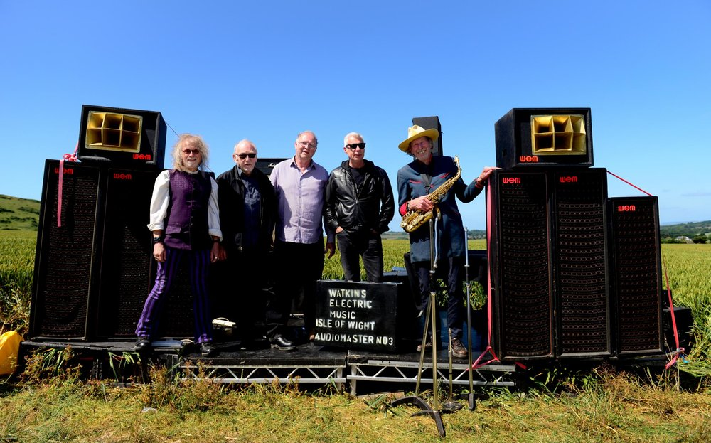 From left, Roger Simmonds of All Wight Now, Dick Taylor, of The Pretty Things, Chris Hewitt, of CH Vintage Audio, IW Festival promoter John Giddings and Nick Turner, formerly of Hawkwind