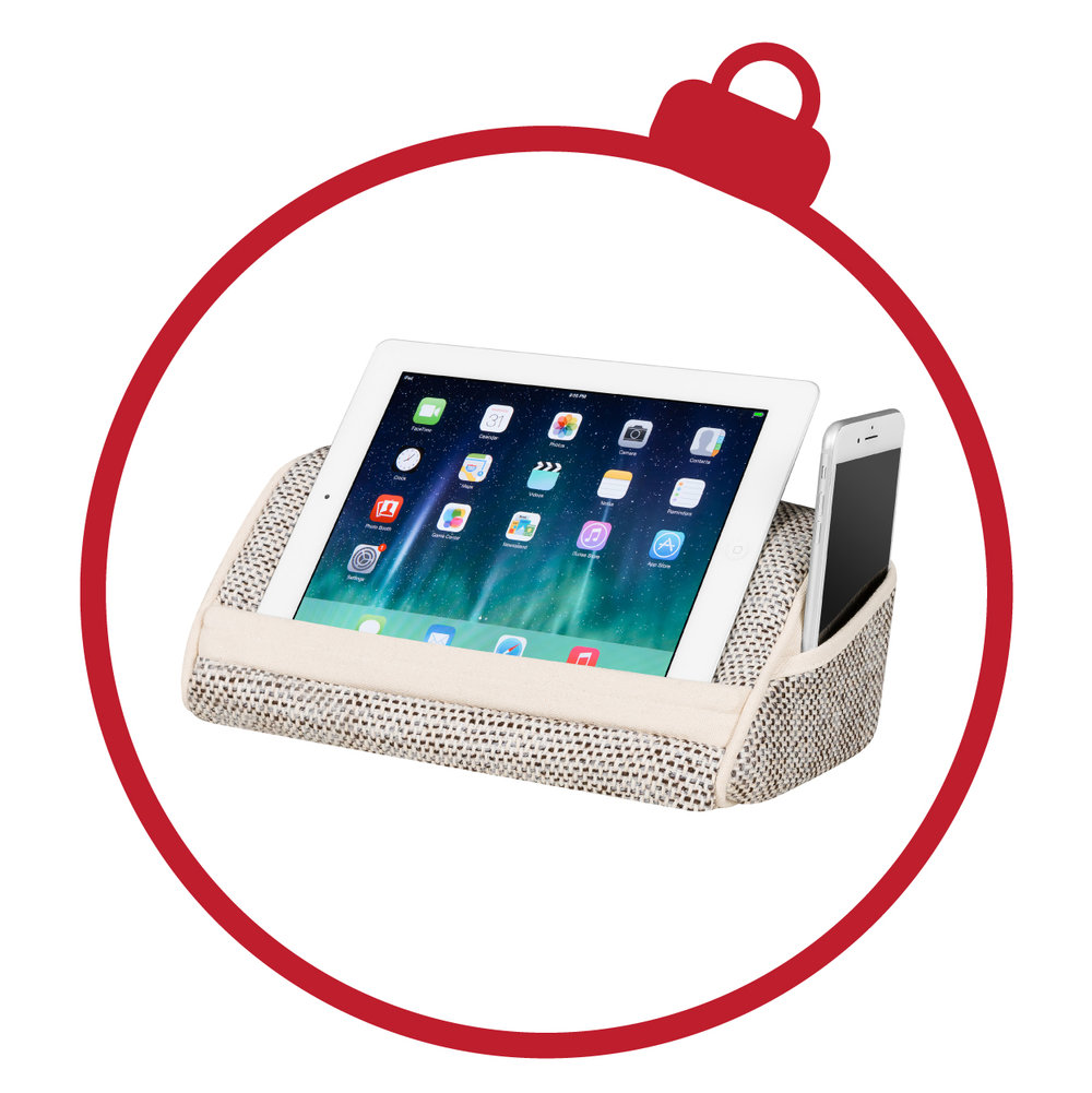 Heritage Tablet Pillows - What's not to love about this travel-friendly tablet pillow? With a built-in media slot, now your hands can relax while you watch your favorite shows. Keep your charger and earbuds close and secure when you place them in the side storage pocket.