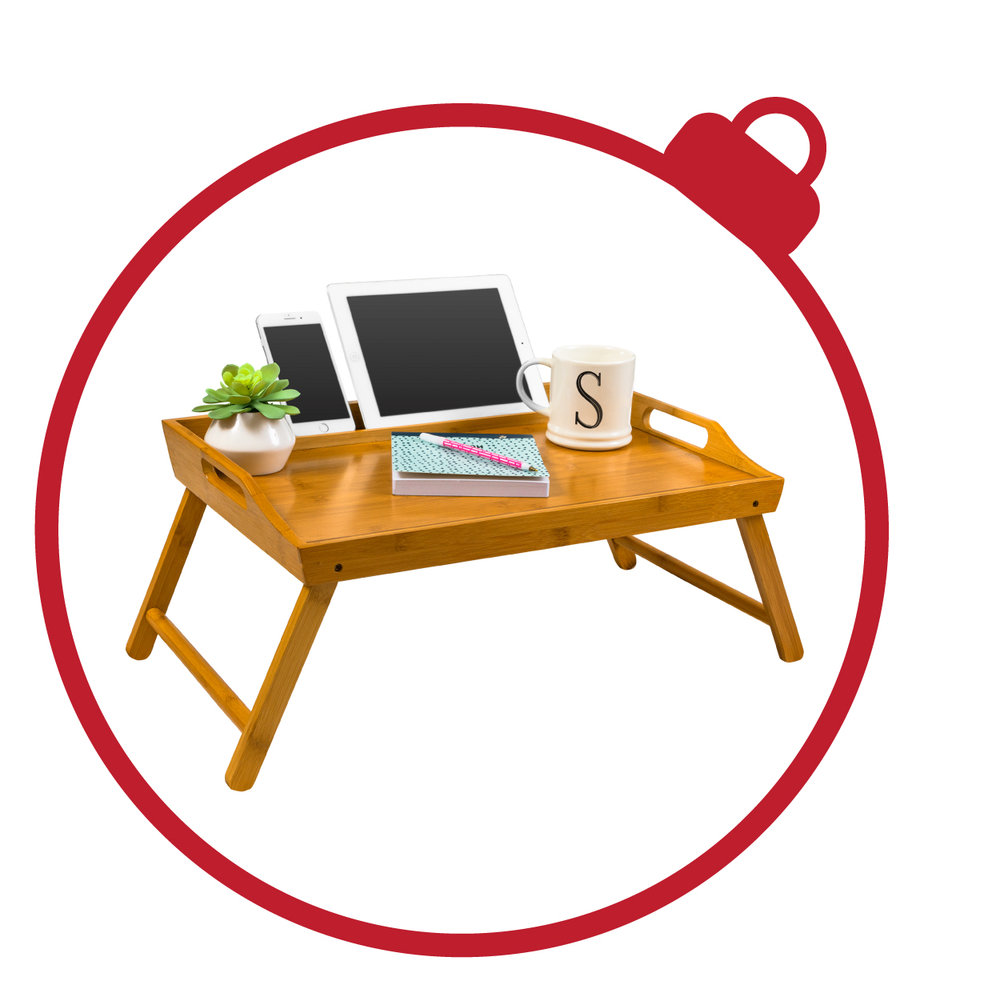 Media Bed Tray - So many great features elevate this bed tray to the top of Santa's list! Made with bamboo, the Media Bed Tray keeps your tablet and phone at an elevated position while you cut into your morning waffles, make crafts, or work!