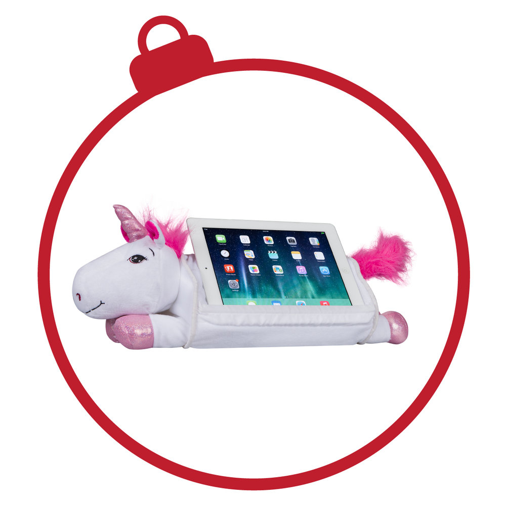 LapPets® Tablet Pillows - This 3-in-1 product is one of our pride and joys. With its built-in media slot holder, your little one's hands and neck are comfortable while they play educational games or watch their favorite shows. It also makes the perfect size snuggle toy for car rides or bedtime.