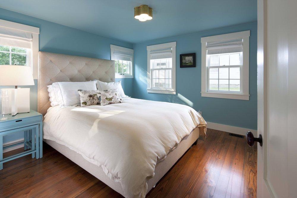 Turquoise bedroom.