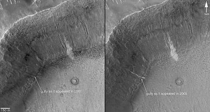 Gullies Before and After on Mars