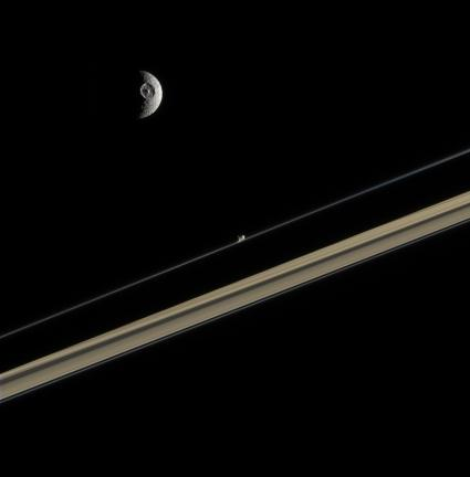 Mimas and Promethius on Rings