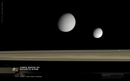 Wallpaper: Saturn's Rings and Three Moons