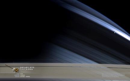 Wallpaper: Saturn and Mimas