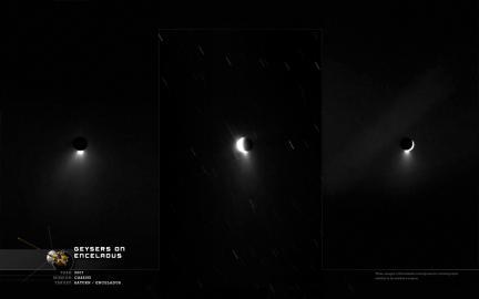 Wallpaper: Enceladus Geysers in 3 Frames
