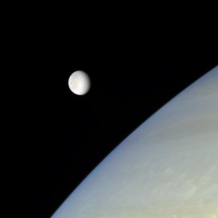Rhea Floats Above Saturn