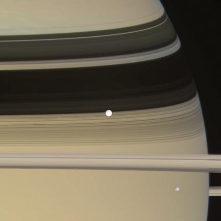 Enceladus, Mimas Transit Saturn