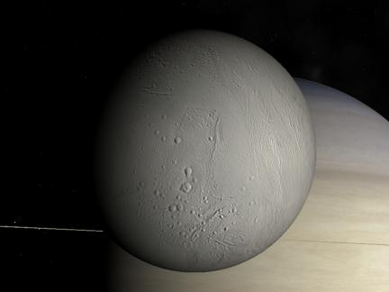 Enceladus flyby in Celestia