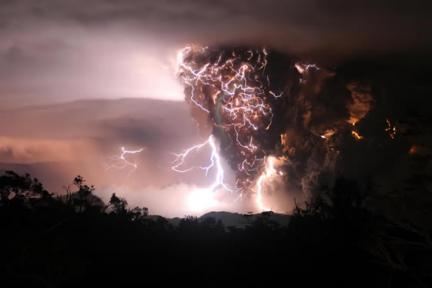 Electric Storm meets Erupting Volcano