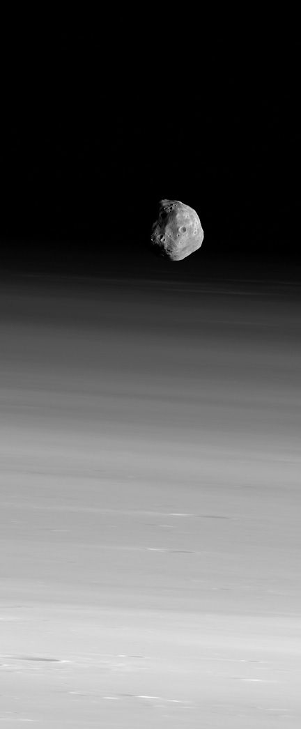 Phobos Hangs Above the Martian Horizon