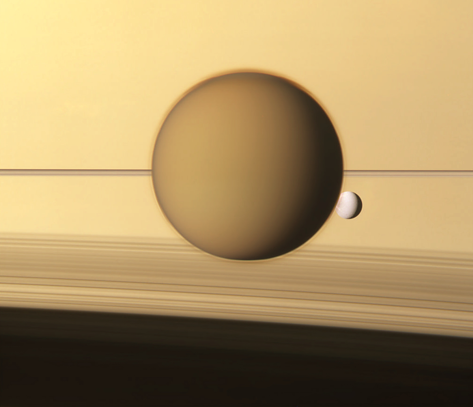 Titan, Dione and Saturn
