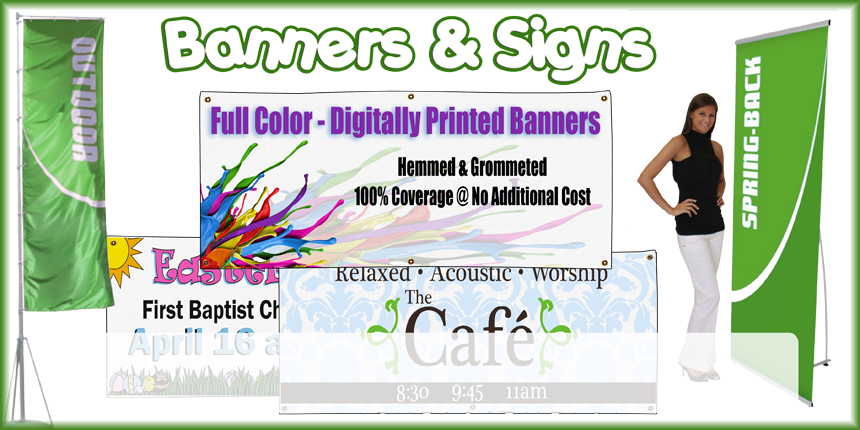Does your church, school or business need to bring awareness to an upcoming event? If so, look no further than Logo My Stuff's full color banners .   We offer everything from traditional hanging banners to stands with signage that will demand your audience's attention.  Our banners are digitally printed, which means that we can print anything on them.
