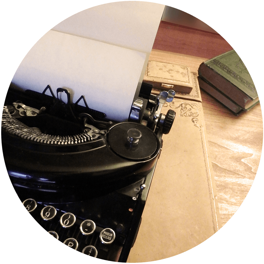 Main character Murphy Gardiner cleans up a vintage typewriter— Burying My Dead