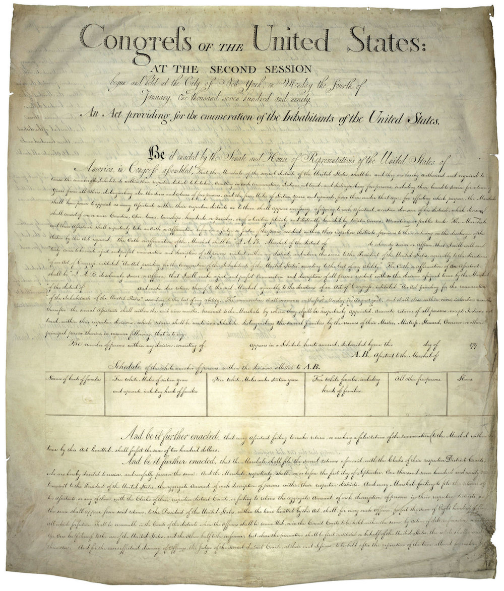 The declaration, signed by George Washington, is the origin of today's census. Note the wording: An Act providing for the  e  numeration of Inhabitants  of the United States.  Inhabitants ,  not  citizens.