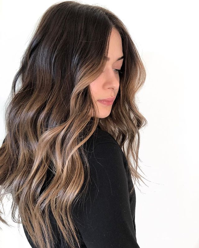 """Make me darker but I'll probably want to lighten it up again in the summer"" —  REVERSE BALAYAGE using my go-to @redken Shades EQ which will gently soften out and allow me to lighter her back up in 4-5 months! . S H A D O W - @redken SEQ 04NB G L O S S - @redken 06N + 07V F I N I S H - @moroccanoil smoothing lotion + dry texture spray . @behindthechair_com #thebtcteam @moroccanoilpro @moroccanoil #arganeveryday #moprofessional #moacademynyc #behindthechair"