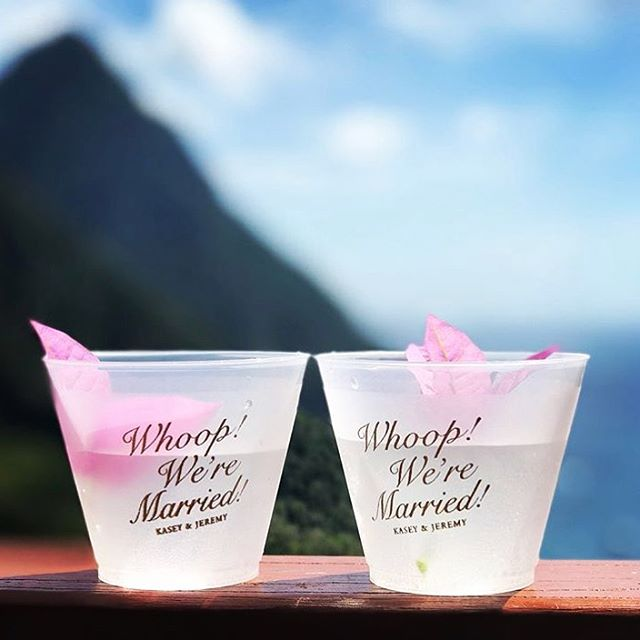 Whoop! It's the weekend. 🌺🥂💕Loving these custom cups for @kaseyjohnson1 wedding!! #gigem #aggiewedding