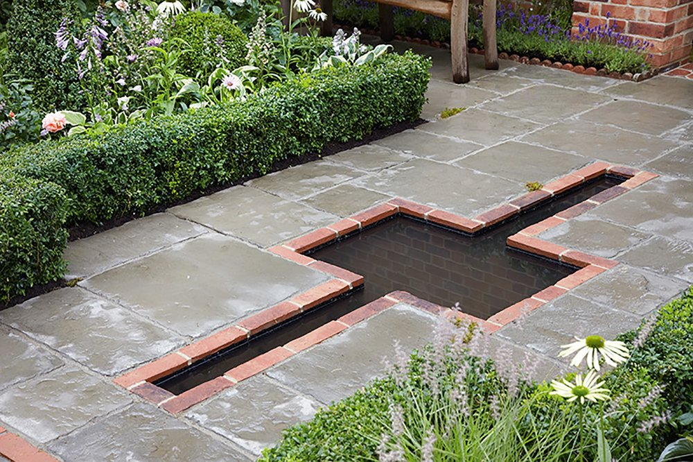 Buxus courtyard country garden