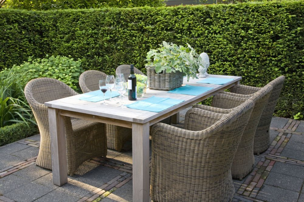 Taxus yew country modern garden outdoor living patio table