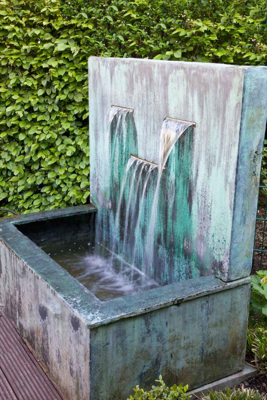Carpinus hornbeam hedge modern garden fountain