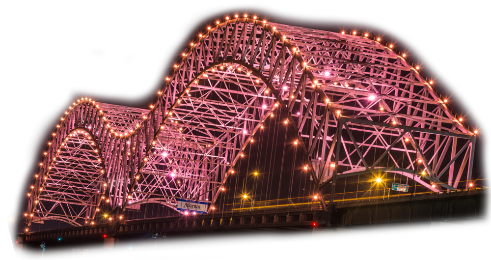 Hernando de soto bridge - Mighty Lights illuminated 2018. Originally opened in 1973 and illuminated with its original bulb lights on September 5, 1986 by visionary local philanthropists, the Hernando De Soto Bridge has represented the iconic marquee of Memphis' riverfront for more than 40 years.