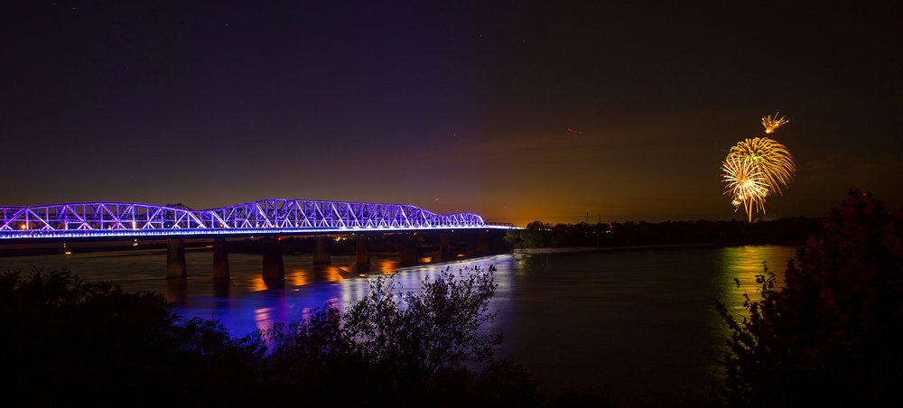 """memphis bridge lighting, inc - MBL is a privately-funded 501(c)(3) established in 2016 to oversee the development, design, installation, branding/communications, maintenance, and ongoing programming for LED light installations on the Harahan Bridge's Big River Crossing and Hernando De Soto Bridge, known locally as """"the M bridge."""""""