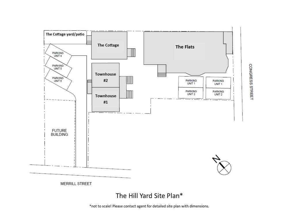 The site plan includes six units, parking for five of the units and shared green space.