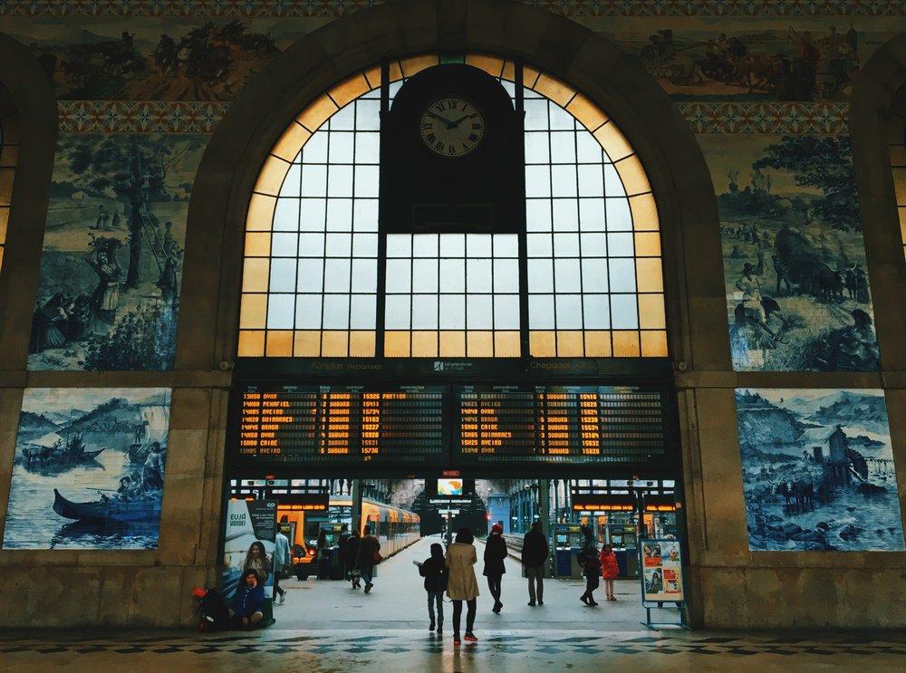 Front hall of Porto's São Bento train station.