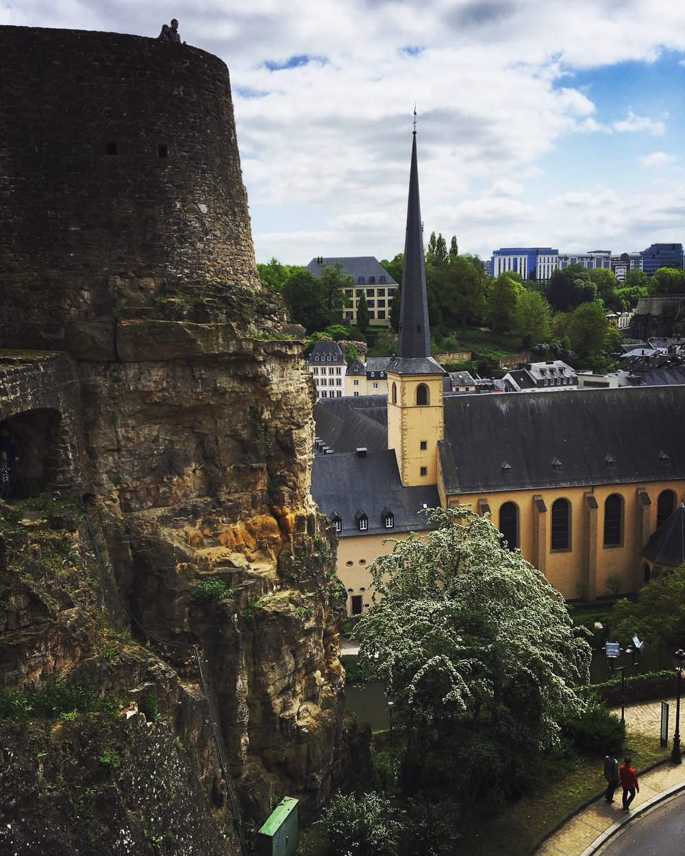 The Bock Casemates overlooks the city atop its 40m.