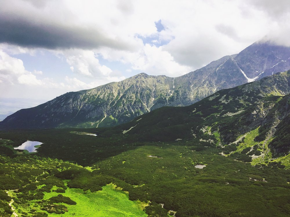 A typical landscape in the High Tatras with Veľké Biele pleso on the left