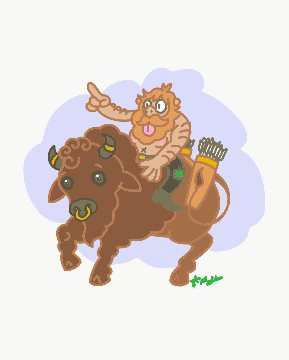Guy on a Buffalo by Drake Babb