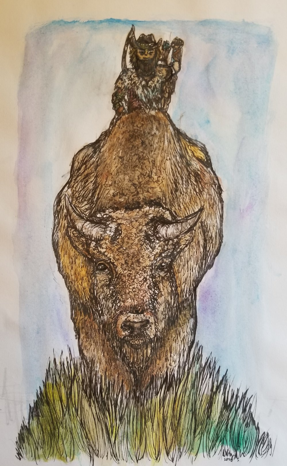 Guy and His Buffalo by Sophia S
