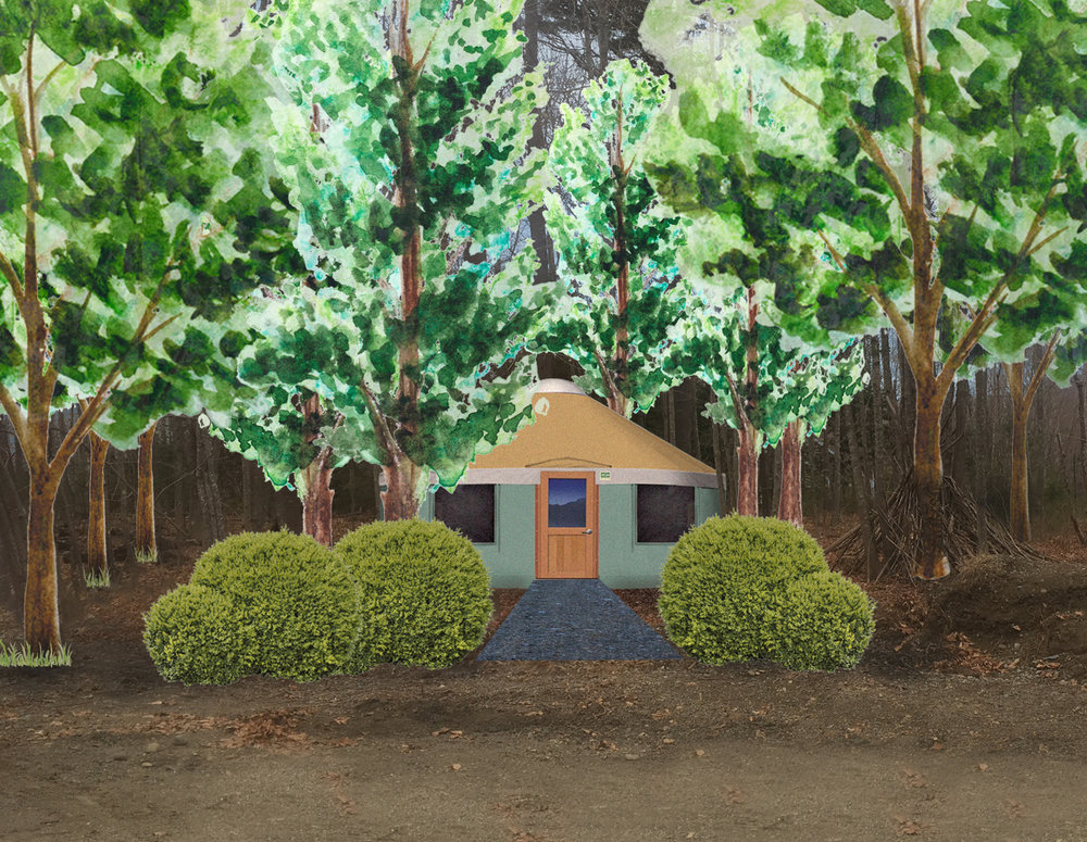 Sketched drawing of Yurt in the woods.
