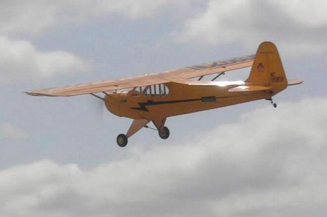 Piper Cub on a test flight prior to the ATTOPilot autopilot being installed