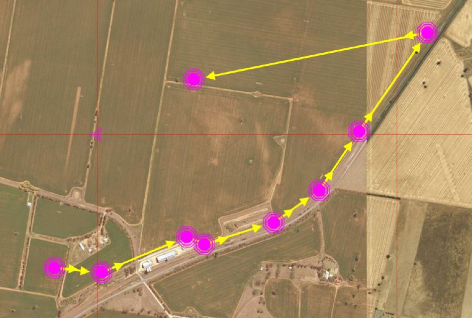 Flight path for the Lidar trials over the powerlines.
