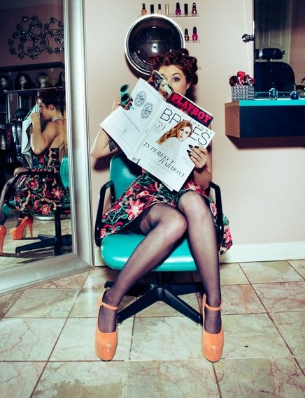 Naughty Miss Reyna takes a peek at a dirty magazine while her hair sets…