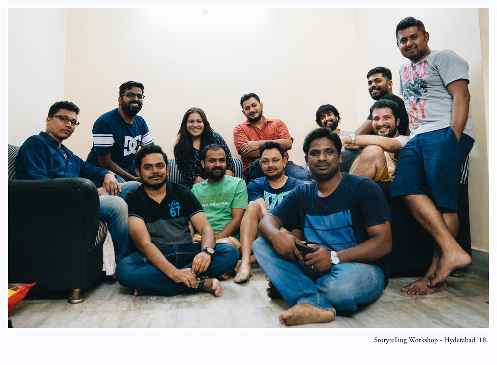 Storytelling Workshop - Hyderabad, Aug '18.    Left to right (top row): Chinmay, Noel, Nupur, Ratul, Kireet, Vinod, Hoshner, Allen.  Left to right (bottom row): Ranadheer, Madhabendu, Swarat, Yesubabu.