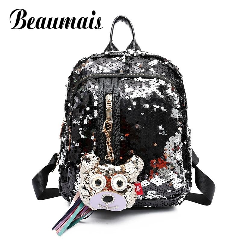 c587a125c6 Beaumais New Arrival Sequins Women Backpacks Cute Paillette School Bags  Backpacks For Teenage Girls Top Quality Mochila DF0238