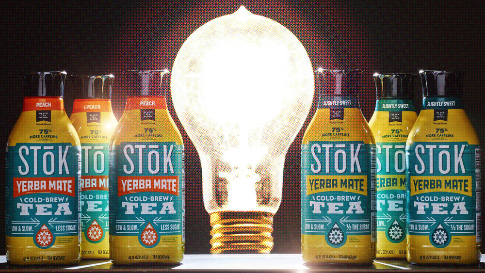 Still pulled from stop motion animation, SToK Light Bulb / Danone / Created by Dennis Lane