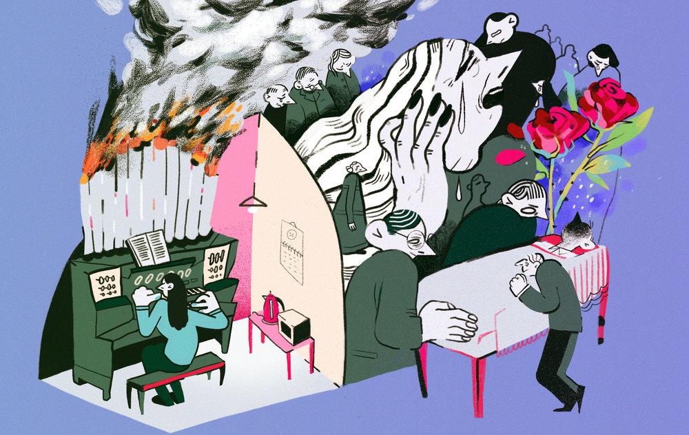 The Village  -  I play an organ at crematories