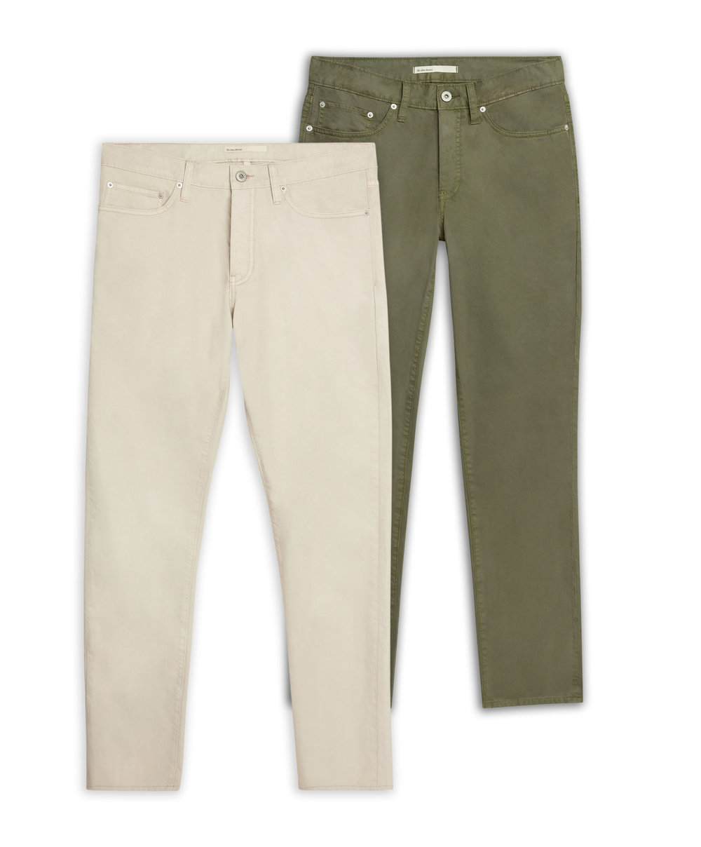 Shop the Classic 5 Pocket Pant  (Left: Birch / Right: Olive)
