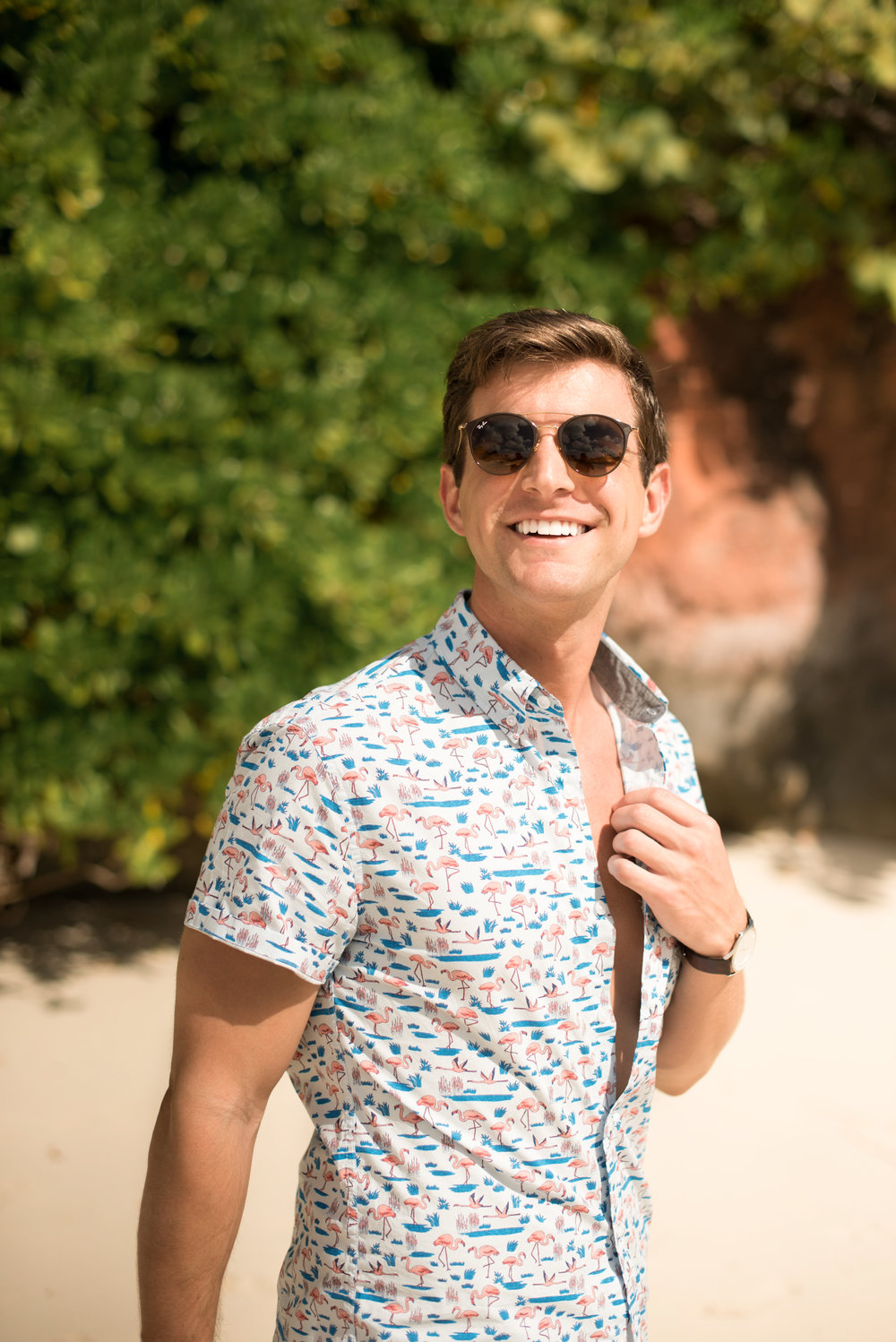 This button down J-Crew flamingo shirt had me living my best island life. Such a great choice for the island life. J-Crew also has more of these in different patterns - even one with ice cream on it!