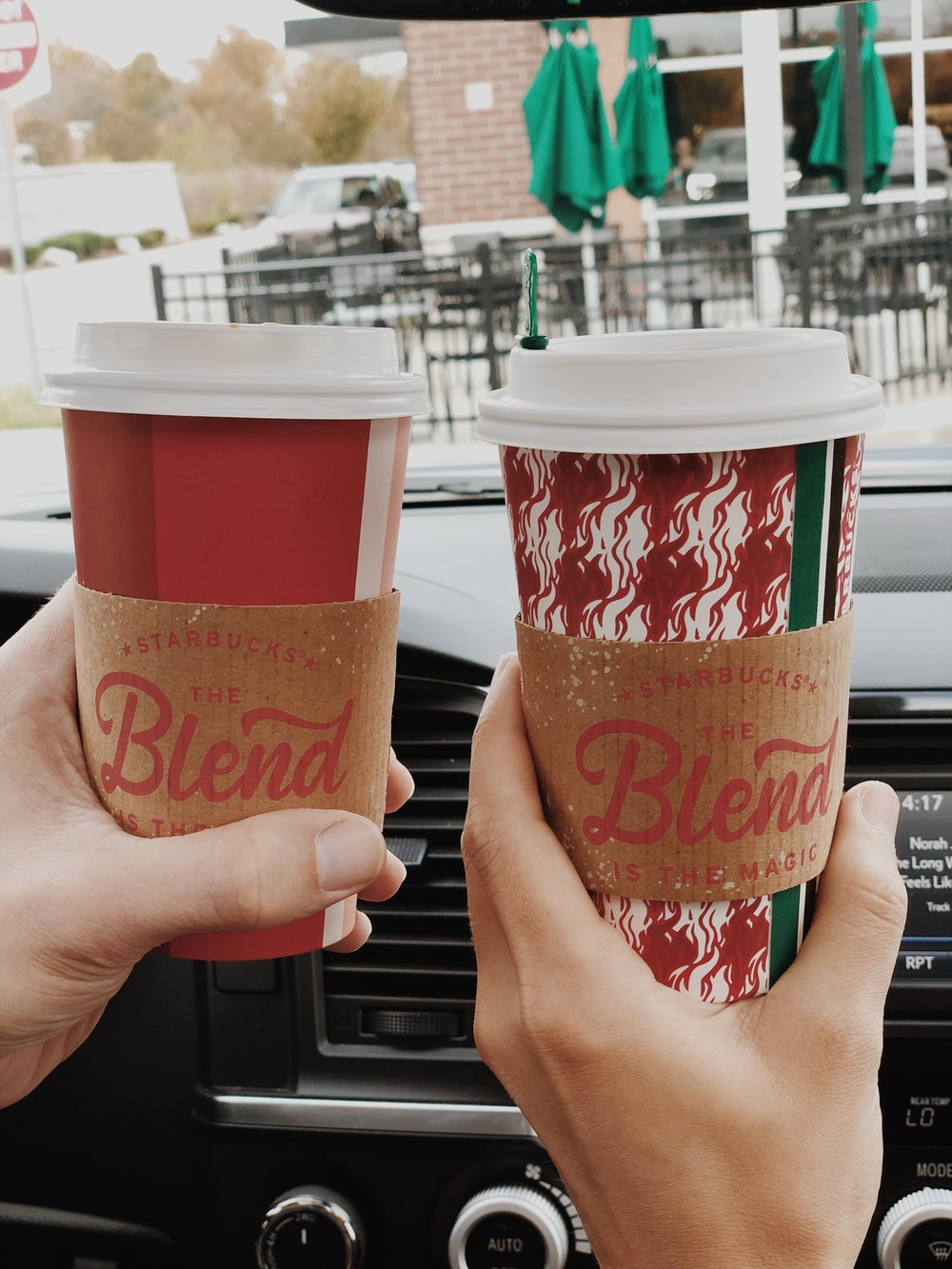 Out of Holiday cups - but I (right) got a Ginger Bread Latte and Kyle got a PSL